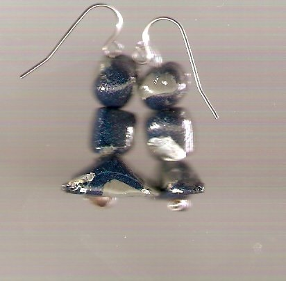 blue and silver polymer earrings
