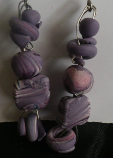 Purple polymer earrings