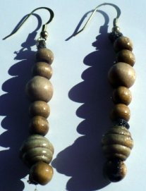 natural wooden bead earrings