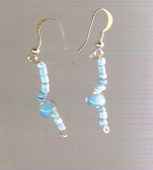 earrings made with turqoise colored glass beads