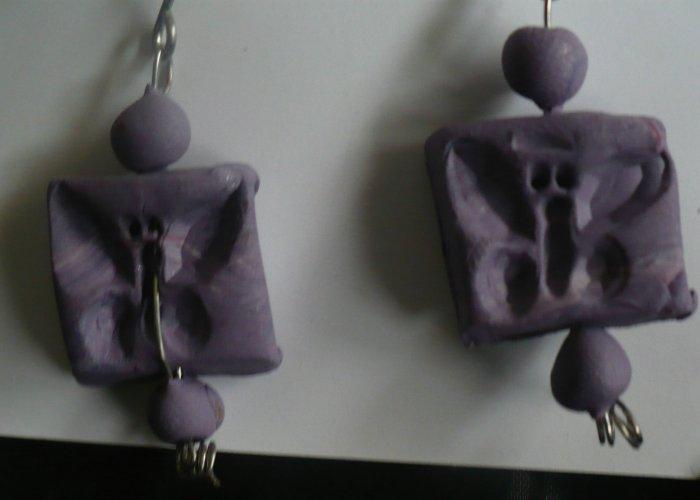 purple polymer butterfly earrings