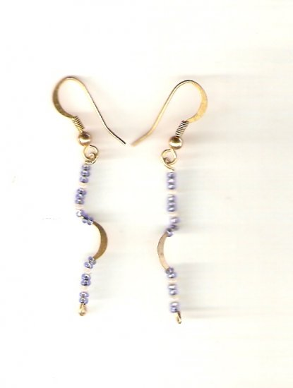 earrings made with white and light blue seed beads