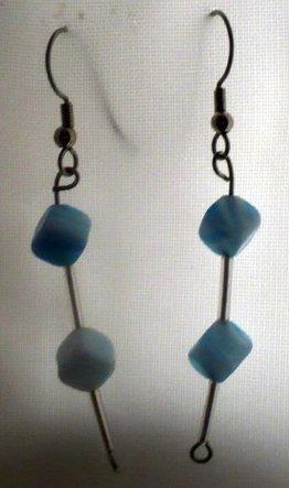 earrings made with light blue cube shaped beads and light blue bugle beads
