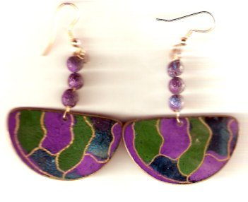 earrings made with thin colorful metal