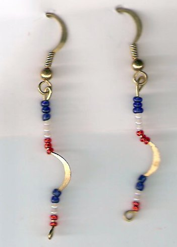 earrings made with red ,white and blue seed beads