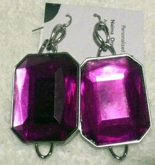 Large purple  rectangular glass earrings