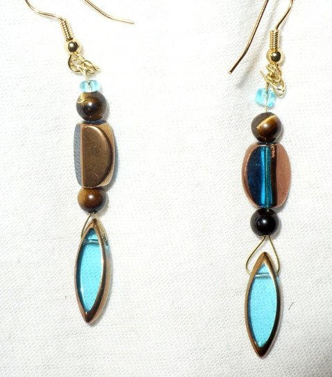 tiger eye and glass bead earrings