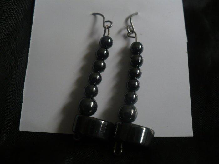 earrings made of hematite beads