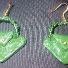green purse earrings