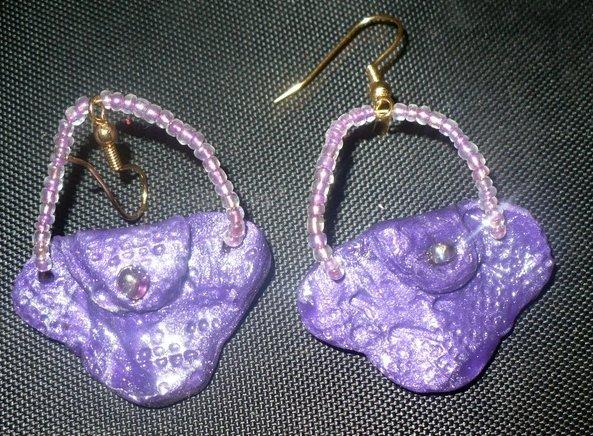 purple purse earrings