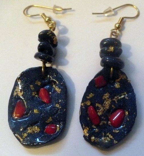 blue disk earrings with semi precious stone chips.