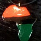 Red black and green Africa shaped necklace