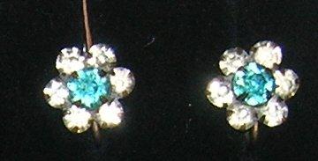 Aqua Blue & Clear  Rhinestone Screw on Earrings
