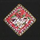Vintage Square  Micro Mosaic Brooch  Raised Floral Design