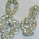 Clear Rhinestone Scatter Pins Set of 2 G Clefts