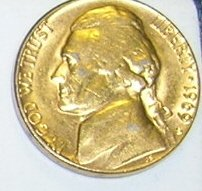 1969S Goldwashed Jefferson Nickel Tie Tack or Hat Tack Pin