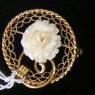 Vintage  Fillagree Circle Brooch Pendant Carved Ivory Coral Rose