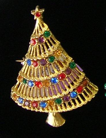 JJ Christmas Tree Rhinestone  Brooch / Pin