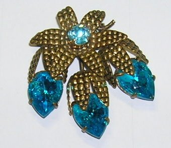 Vintage Large Aqua Blue Rhinestone Brooch West Germany