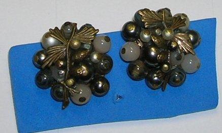 Vintage Glass Beaded Clip on Earrings