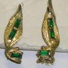 Vintage Goldtone with Green Rhinestone Clip on Earrings
