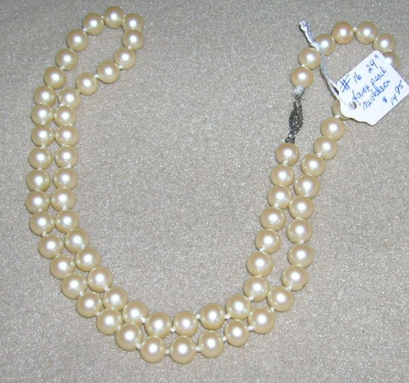 Vintage Single Strand Faux Pearl Necklace 24""