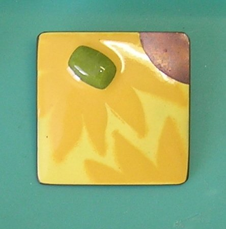 Vintage Enamel on Copper Large Square Brooch