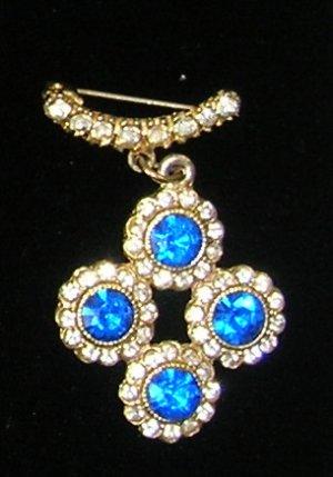 Vintage Blue Rhinestone  Brooch / Pin