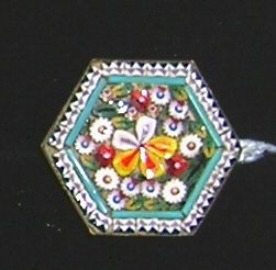 Vintage Hexagon Micro Mosaic Brooch  Floral - Italy