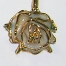 Vintage Hat Ornament or Stickpin Rose with Gold Accents