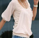 Lantern sleeve blouse - Sizes: S, M, L - Also available in black and white