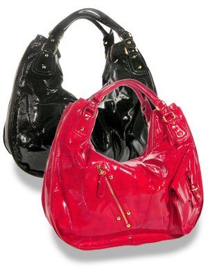 Exclusive oversized red patent hobo handbag/purse