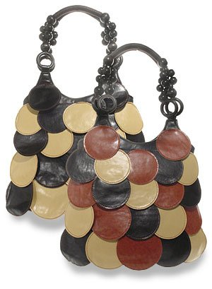 Lovely multi-black and brown circle flap/patch handbag