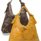 Trendy brown decorative weave hobo handbag/purse