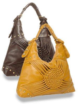 Trendy brown decorative weave hobo handbag/purse