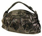 Trendy patent oversized alligator embossed hobo handbag purse