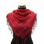 Beautiful solid color with metallic accent square shawl scarf