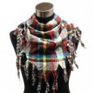 Vintage reversible triangle scarf  with fringe cuts