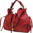 Stunning gold toned accented top flap hobo handbag purse