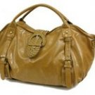 Elegant patent satchel handbag purse with weave accent