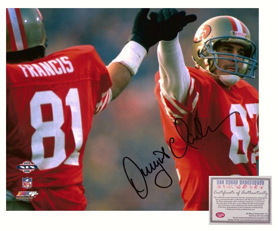 Signed Dwight Clark Photo - 8x10 Super Bowl XIX High Five