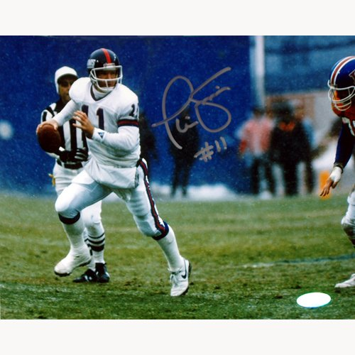 Phil Simms Autographed Photograph - 8x10 Passing In Snow Vs. Denver in Silver Ink