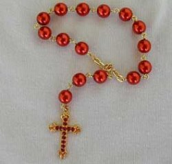 mini red rosary