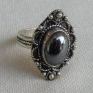 Black agate silver ring