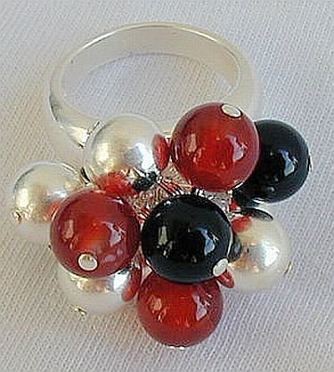 Silver-oynx,red agate ring