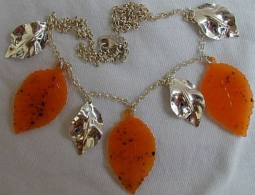 Orange morano leaves necklace