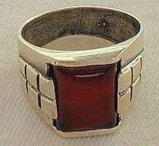 Red agate man ring-B