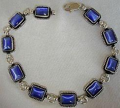 Blue cat eye silver bracelet.