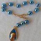 Blue shiny mini Rosary