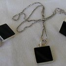 Onyx square set-ring earrings pendant